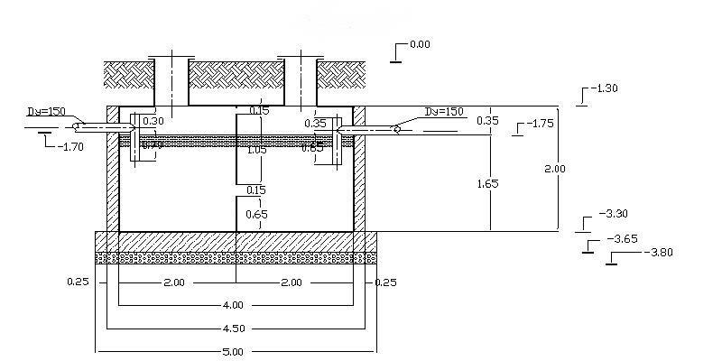 Схема септика сделанного из бетона с помощью опалубки (нажмите на...