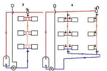 Системы отопления виды схемы достоинства и недостатки  Схема однотрубной вертикальной системы отопления со смещенными перемычками с попутным движением воды