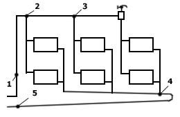 Схема мест засоров в двухтрубной СО с попутным движением воды
